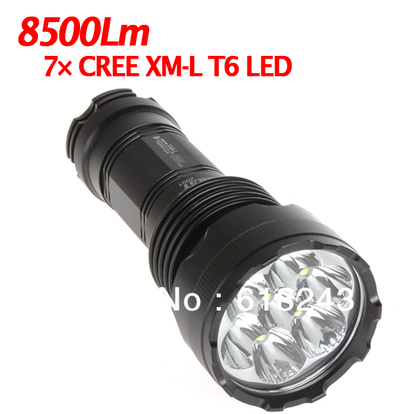 Freeshipping Outdoor 8500Lm 7X CREE XM-L XML T6 LED 5 Mode LED Flashlight Torch Brightest LED Flashlights(China (Mainland))