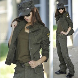 Women Outdoor Cotton Quality Gaurantee Jacket Color: Green Camouflage Size:M L XL XXL(China (Mainland))