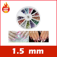 1.5mm 1800 Nail Art Rhinestone Glitter Tip Mix Gems
