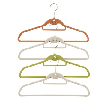 Colourful Velvet Clothes hanger with U Notches, Tie Bar and Cascading Hook