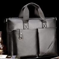 39*29*9cm New 2014 Man Versatile Genuine Leather Laptop Briefcase Handbag Black/Brown Open Pocket Messenger Shoulder Bag