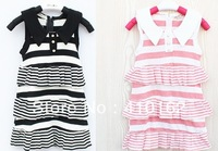 Free shipping 2014 new Summer Child dresses turndown collar striped dresses Sleeveless dresses lovely princess pretty dressses