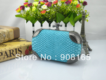 2013 new arrival blue snake striped mini handbag,leather designer handbags,clutch bags for women.free shipping