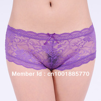 Free Shipping ladies lace material panties transparent briefs lady secret lovely panty women lingerie 6pcs/lot