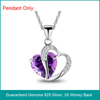 Wholesale & Retail for Real 925 Sterling Silver Amethyst Pendant, 100% guaranteed 925 sterling silver,Top Quality!! (I0805)