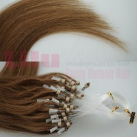 "Free Shipping 16""18""20"" Natural Silky Straight Micro Loop Ring/Beads Hair Extensiont #10 medium ash brown"