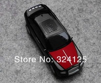 Free shipping 3pcs Mini Portable Music Car LED light Speaker Support FM Radio MP3 Player TF Card Reader music model car