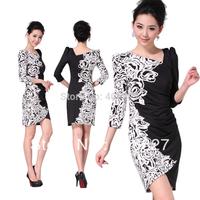 2013 fashion Dresses Brand clothing black white printed vintage casual dress /S M L XL XXL XXXL D04