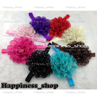 Free Shipping 24pcs/lot Wholesale 4inch baby girl Chiffon Shabby flowers with hair Shimmer elastic Headbands 7 Colors