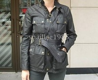 fashion woman wax cotton waterproof bel roadmaster black motor jacket coat