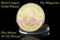 [C0038]Free Shipping 5 Pcs/Lot Red Copper 24K Gold-Plated Year 2012 Krugerrand Coin,Without Copy or Replica