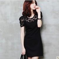 2013 New lace short-sleeved dress summer dress  bottoming skirt   S-4XL
