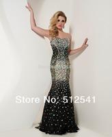 Black Strapless Rhinestone Beads Sleeveless Sweep Train Mermaid prom dresses 2013 new arrival R-217