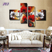 Free Shipping !!! 4Panels Combination -100% Handmade Modern Flower  Oil Painting Wall Art,Top Home Decoration  JYJ019