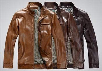 2015 new fashion men's leather jacket brand genuine sheepskin coat free shipping