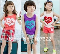 "Hot sale 3 color 5pcs/lot summer sleeveless T-shirt  children "" LOVE"" heart printing vest, for boys and girls t shirt  611025"