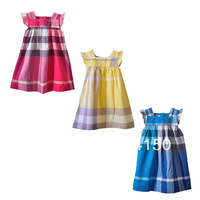 Girl's Summer Clothing 2014 New Dress Children One-piece Dress Kid Dress Plaid Button Cotton Clothes 1pcs 8128 Free Shipping