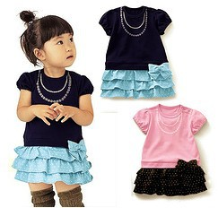 5pcs/lot baby girls fashion bow dots cake dress summer cotton clothing free shipping ZZ0299