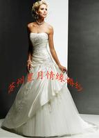 On Sale Drop Shipping 2014 New Princess Lace Up Zipper Embroidery Slim Wedding Dress Floor-Length Bridal Wedding Ball Dresses
