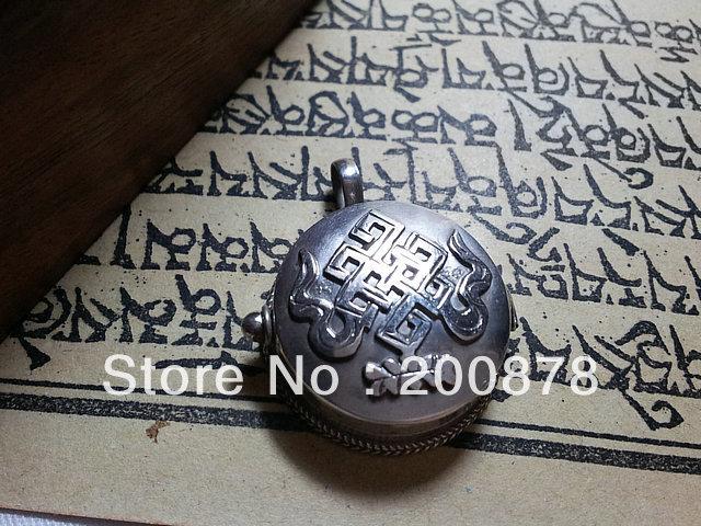 T9127 Tibetan Endless Knots Prayer Box Amulet Pendants,Nepal India 925 silver Antiqued jewelry,Free shipping(China (Mainland))