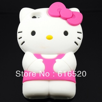 Many colors Retail 1pcs/lot  3D Cute Hello kitty KT cat Silicone Case Skin Back Cover for iPhone 4 4S 4G Free shipping  via Post