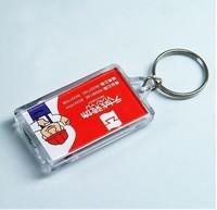"10pcs Blank Acrylic Rectangle Keychains Insert Photo plastic Keyrings 2.25""x 1.65"""