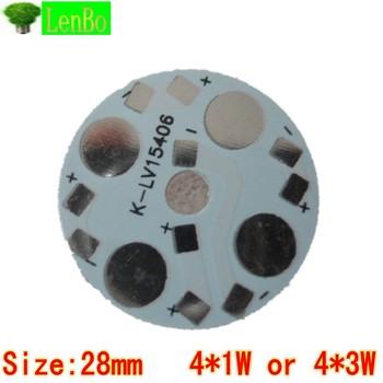 10pcs/Lot 4* 1W 4* 3W 28mm High Power LED Aluminum Base Plate LED PCB Circuit board wholesale