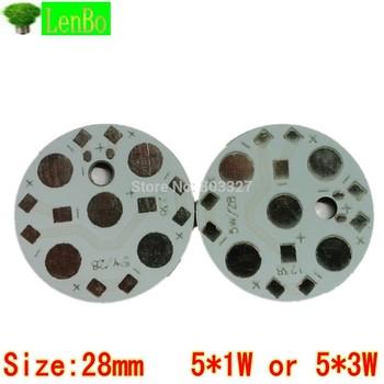 LED PCB  Aluminum base plate Circuit board 5* 1W 5* 3W 28mm  PCBs LED board for led high power 100pcs/lot