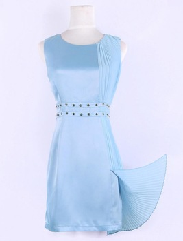 Brand New Elegant OL Dress/ Chiffron Dress With Rivet And Ruffle/ One Piece Dress/ Formal Wear Woman/ Evening Gown