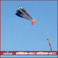 Free Shipping!!2.1 M 3D HUGE Parafoil Whale Kite/Black Soft Dolphins Kite Hot Sale!!