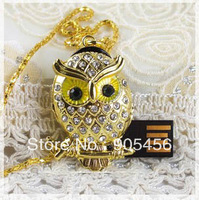 Free shipping Wholesale full capacity 2GB 4GB 8GB 16GB 32GB crystal owl 2.0 Memory Stick USB Flash Drive, E1016
