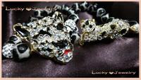 Fashion Mens Bracelet Gold Plated Leopard And Crystal Leopard head Bracelet Set BS086