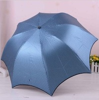 Exquisite Black Coated Eight Colors Anti-ultraviolet Sun and Rain Folding Umbrella With Dots Print Free Shipping