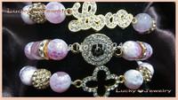 Free Shipping Crystal Evil Eye, Sideways Love And Rhinestone Open Clover Bracelet Wholesale BS093