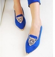 Free shipping 2013 new Spring leopard head women's flat boat shoes#Y355