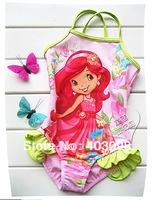 2014 girl one piece swimwear cute design kids strawberrry shortcake girl beach bikini