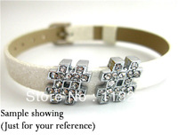 1pc 8mm   Full Rhinestone # Slide Charms Fit Pet Dog Cat Tag Collar Wristband