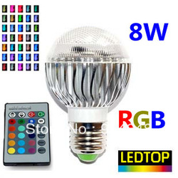 New item Factory outlet AC 85-265V RGB LED Lamp 8W E27 E14 led Bulb Lamp with Remote Control led lighting free shipping CREE(China (Mainland))
