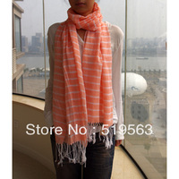 Tatsj plain cotton stripe scarf pure and fresh sweet and natural shawl