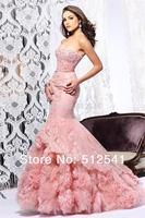 Top Selling Rhinestone Prom Dresses 2014 Handmade Flower Strapless Trumpet Mermaid Crystal R-222