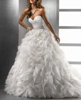 New Sweetheart A-line With Train Organza Bridal Gown ( Picture is Ivory Color ) Wedding Dresses R2013