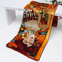 2014 Fashion Women Scarf 100% Mulberry Silk Square Scarves Famous Art Printing Shawl Poncho Wrap Handmade Trim 90x90cm SF0136