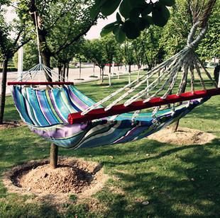 Outdoor hammock belt wooden sticks multicolour oxford fabric hammock indoor outdoor hammock swing lashing freeshipping