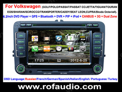 Free Shipping!!! HD 6.2inch auto car dvd player gps system with bluetooth, iPod, 3G, duan Zone, FM/AM for Wolkswagen VW skoda(China (Mainland))