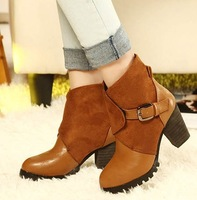 Brand New Korea Thick Heel Metal Buckle Short Knight Boots Locomotive women's boots X081 IN STOCK