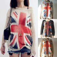 [SEKKES] 2015 Spring/Autumn Fashion Geometric Sweater Women Cutout Hole Pullover Cross Flag Sweater  SWT022