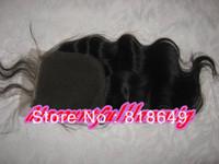 "Princess hair AAA Brazilian Queen Hair Products 12"" #1b Body Wave Virgin Brazilian Hair Top Lace Closure(3.5""*4"")"