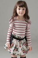 Flower dresses for girls kids spring dresses striped dress dress kids tutu striped dress girl  wholesale free shiping 5PCS