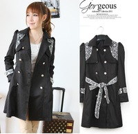 Double breasted full sleeve long fashion trench with waist belt which has lace on the should,ladies trend coat