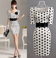 Women new fashion satin dot Dresses Lady dress / S M L XL XXL h041 Free shipping